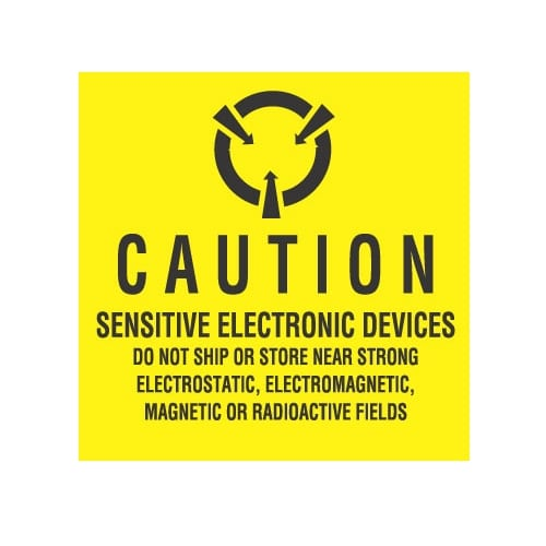 """2 x 2, """"Caution Sensitive Electronic Devices ... Magnetic Or Radioactive Fields""""-0"""