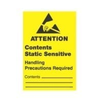 """1-3/4 x 2-1/2, """"Attention Contents Static Sensitive Handling Precautions Required""""-0"""