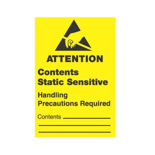 ESD LABEL, ATTENTION, CONTENTS STATIC SENSITIVE