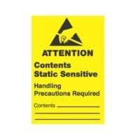 """1 x 1-1/2,""""Attention Contents Static Sensitive Handling Precautions Required"""""""
