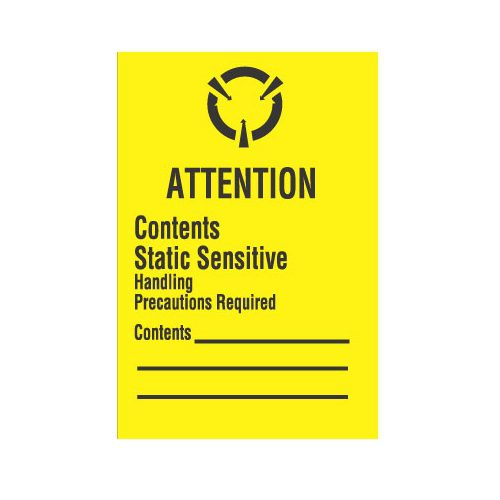 """1 x 1-1/2, """"Attention Contents Static Sensitive Handling Precautions Required"""""""